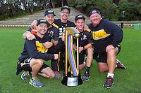 The Wellington coaching staff pose with the trophy  after the McDonalds Super Smash Twenty20 cricket final between the Central Stags and Wellington Firebirds at Pukekura Park in New Plymouth, New Zealand on Saturday, 7 January 2017. Photo: Dave Lintott / lintottphoto.co.nz