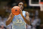 06 February 2012: North Carolina's Laura Broomfield. The Duke University Blue Devils defeated the University of North Carolina Tar Heels 96-56 at Cameron Indoor Stadium in Durham, North Carolina in an NCAA Division I Women's basketball game.
