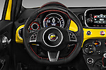 Car pictures of steering wheel view of a 2016 Fiat 500 Abarth 3 Door Hatchback Steering Wheel