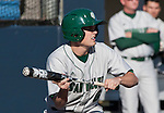 February 24, 2012:    Utah Valley Wolverines Kai Hatch squares to bunt against the Nevada Wolf Pack during  their NCAA baseball game played at Peccole Park on Friday afternoon in Reno, Nevada.