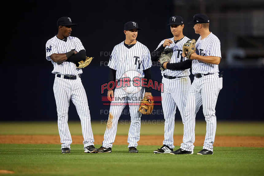 Tampa Yankees Jorge Mateo (14), Nick Solak (39), Mandy Alvarez (34) and Kyle Holder (12) during a game against the Lakeland Flying Tigers on April 7, 2017 at George M. Steinbrenner Field in Tampa, Florida.  Lakeland defeated Tampa 5-0.  (Mike Janes/Four Seam Images)