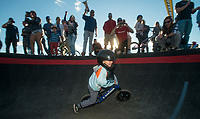 NWA Democrat-Gazette/BEN GOFF @NWABENGOFF<br /> Beckett McGraw, 4, of Bentonville crosses the finish line to place second in the final of the age 3-4 race Wednesday, Oct. 10, 2018, during the Strider Bikes pump track races at The Jones Center's Runway Bike Park in Springdale. Children ages 3-6, divided into two age groups, raced head-to-head to see who was the fastest on the balance bikes designed to help young children learn how to ride. It was the first competetive event to use the new pump track that was built to host the Red Bull Pump Track World Championship Final coming up Saturday.