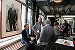 AMSTELVEEN - KNHB direkteur Erik Gerritsen (l)   en mevrouw Elvire Wagener, achternichtje van Joop Wagener sr. , hebben samen , symbolisch , de eerste paal geslagen van de nieuwe tribune van het Wagener hockeystadion. rechts Fons Fonteijn (AH&BC Amsterdam) . midden architect Henk Gersen. COPYRIGHT KOEN SUYK.