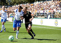 Boston's Alex Scott and Kristin Graczyk, right, battle for a ball. FC Gold Pride defeated the Boston Breakers 2-1 at Buck Shaw Stadium in Santa Clara, California on April 5th, 2009.