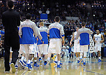 February 7, 2015 - Colorado Springs, Colorado, U.S. -  Air Force players gather for an early timeout during an NCAA basketball game between the University of Wyoming Cowboys and the Air Force Academy Falcons at Clune Arena, U.S. Air Force Academy, Colorado Springs, Colorado.  Air Force soars to a 73-50 win over Wyoming.