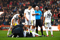 Injury concern for Joao Moutinho of Wolverhampton Wanderers during AFC Bournemouth vs Wolverhampton Wanderers, Premier League Football at the Vitality Stadium on 23rd February 2019