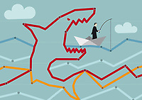 Businessman in paper boat oblivious of large shark in dot to dot puzzle