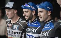 race winner Fernando Gaviria (COL/Etixx-QuickStep) flanked on the podium by Timothy Dupont (BEL/Verandas Willems) &amp; Ariel Maximiliano Richeze (ARG/Etixx-QuickStep)<br /> <br /> 2016 Primus Classic Impanis - Van Petegem (1.HC)<br /> Belgium: Brakel &rsaquo; Boortmeerbeek (200.4km)