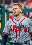 8 July 2017: Atlanta Braves third baseman Freddie Freeman walks the dugout during a game against the Washington Nationals at Nationals Park in Washington, DC. The Braves shut out the Nationals 13-0 to take the third game of their 4-game series. Mandatory Credit: Ed Wolfstein Photo *** RAW (NEF) Image File Available ***
