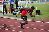 Tuesday 15th July 2014<br /> Pictured: Christian Malcolm <br /> RE: Christian Malcolm, sprints out of the starting blocks as he competes in the Welsh Athletics International 4x100m relay at Cardiff International Sports Stadium, South Wales, UK. His last race on home soil.