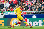 Yannick Ferreira Carrasco (R) of Atletico de Madrid fights for the ball with Joaquin Navarro Jimenez, Ximo, of UD Las Palmas during the La Liga 2017-18 match between Atletico de Madrid and UD Las Palmas at Wanda Metropolitano on January 28 2018 in Madrid, Spain. Photo by Diego Souto / Power Sport Images