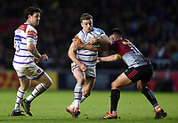 George Ford of Leicester Tigers is tackled by Marcus Smith of Harlequins. Gallagher Premiership match, between Harlequins and Leicester Tigers on May 3, 2019 at the Twickenham Stoop in London, England. Photo by: Patrick Khachfe / JMP