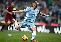 Calcio, Serie A: Lazio vs Roma. Roma, stadio Olimpico, 4 dicembre 2016.<br /> Lazio's Ciro Immobile kicks the ball during the Italian Serie A football match between Lazio and Rome at Rome's Olympic stadium, 4 December 2016. Roma won 2-0.<br /> UPDATE IMAGES PRESS/Isabella Bonotto