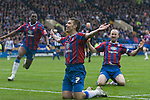 Crystal Palace's Darren Ambrose celebrating scoring his team's second goal at Hillsborough during the crucial last-day relegation match against Sheffield Wednesday. The match ended in a 2-2 draw which meant Wednesday were relegated to League 1. Crystal Palace remained in the Championship despite having been deducted 10 points for entering administration during the season.