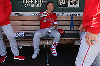 OAKLAND, CA - MARCH 31:  Mike Trout #27 of the Los Angeles Angels sits in the dugout before the game against the Oakland Athletics at the Oakland Coliseum on Sunday, March 31, 2019 in Oakland, California. (Photo by Brad Mangin)