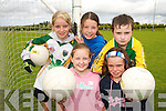 STARS:Young stars from St. Senans and Finuge enjoying  the Kerry GAA VHI Cul Camp in Mountcoal on Thursday last..Front L/r. Amy Kelly, Rebecca Horgan..Back L/r. Katie Ni Mhuircheartaigh (An Gaeltacht), Meave McCarthy and Tommy Porter..