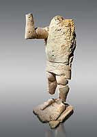9th century BC Giants of Mont'e Prama  Nuragic stone statue of a boxer, Mont'e Prama archaeological site, Cabras. Museo archeologico nazionale, Cagliari, Italy. (National Archaeological Museum) - Grey Background