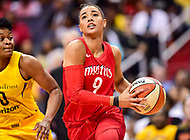 Washington, DC - June 15, 2018: Washington Mystics guard Natasha Cloud (9) drives to the basket during game between the Washington Mystics and Los Angeles Sparks at the Capital One Arena in Washington, DC. (Photo by Phil Peters/Media Images International)
