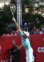 BOGOTA- COLOMBIA 24-07-2015: Ivo Karlovic de Croacia,  sirve a Radek Stepanek de Republica Checa, durante partido del ATP Claro Open Colombia de Tenis en las canchas del Centro de Alto rendimiento en Altura en la ciudad de Bogota.  / Ivo Karlovic of Croatia serves to Radek Stepanek of  Czech Republic during a match to the ATP Claro Open Colombia of Tennis in the courts of the High Performance Center in Altura in Bobota City. Photo: VizzorImage / Luis Ramirez / Staff.