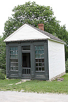 The little two room Law Office at Missouri Town 1855 was both home and office for the rural lawyer. This old Missouri town is located on the east side of Lake Jacomo in Fleming Park in Blue Springs, MO. Missouri Town 1855 is a collection of original mid-19th century structures that were relocated from several Missouri counties to represent a typical 1850's farming community.