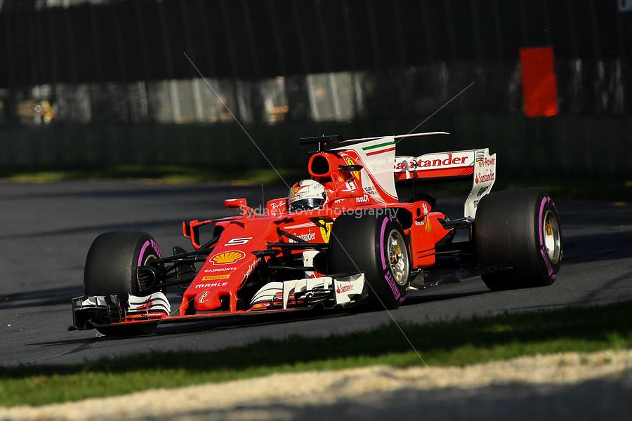 March 26, 2017: Sebastian Vettel (DEU) #5 from the Scuderia Ferrari team at the 2017 Australian Formula One Grand Prix at Albert Park, Melbourne, Australia. Photo Sydney Low
