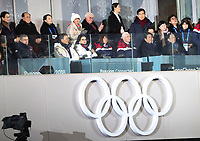 Thomas Bach (l), German IOC president, and South Korean President Moon Jae (2.l) alongside his wife Kim Jung-sook, German President Frank-Walter Steinmeier and his wife Elke Buedenbender (back row) watch the opening ceremony of the Winter Olympics in Pyeongchang, South Korea, 9 February 2018. Photo: Michael Kappeler/dpa /MediaPunch ***FOR USA ONLY***