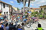 The start of Stage 9 of the 2018 Giro d'Italia, running 225km from Pesco Sannita to Gran Sasso d'Italia (Campo Imperatore), this year's Montagna Pantani, Italy. 13th May 2018.<br /> Picture: LaPresse/Massimo Paolone | Cyclefile<br /> <br /> <br /> All photos usage must carry mandatory copyright credit (&copy; Cyclefile | LaPresse/Massimo Paolone)