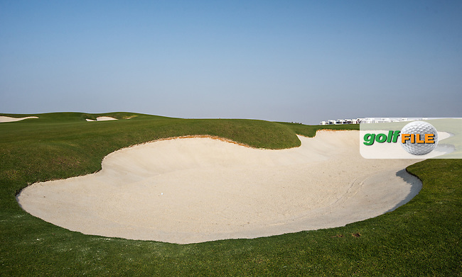 View of the bunker on the 15th at Al Zorah Golf Club, Dubai, United Arab Emirates.  26/01/2016. Picture: Golffile | David Lloyd<br /> <br /> All photos usage must carry mandatory copyright credit (&copy; Golffile | David Lloyd)