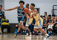 WASHINGTON, DC - FEBRUARY 8: Jameer Nelson Jr. #12 of George Washington moves past Jeff Dowtin #11 of Rhode Island during a game between Rhode Island and George Washington at Charles E Smith Center on February 8, 2020 in Washington, DC.