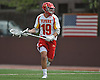 Will Renz #19 of Chaminade races downfield during a non-league varsity boys lacrosse game against Yorktown at Chaminade High School on Saturday, Apr. 23, 2016. Chaminade won by a score of 8-4.