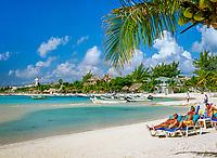 Mexiko, Yucatan, Quintana Roo, Playa Del Carmen: relaxen am Strand | Mexico, Yucatan, Quintana Roo, Playa Del Carmen: Beach Scene