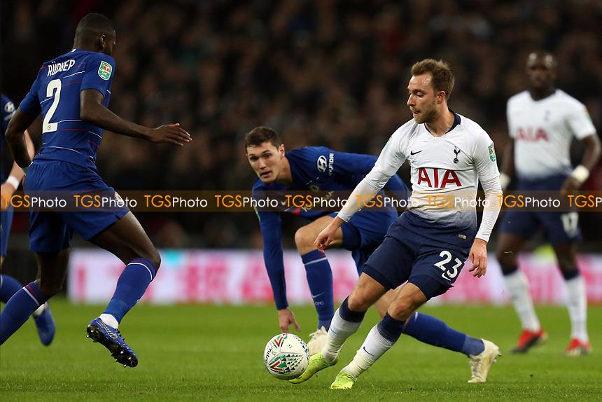 Christian Eriksen of Tottenham Hotspur and Antonio Rudiger of Chelsea during Tottenham Hotspur vs Chelsea, Caraboa Cup Football at Wembley Stadium on 8th January 2019