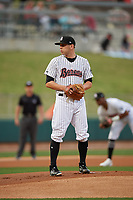Birmingham Barons starting pitcher Kyle Kubat (4) during a Southern League game against the Chattanooga Lookouts on May 1, 2019 at Regions Field in Birmingham, Alabama.  Chattanooga defeated Birmingham 5-0.  (Mike Janes/Four Seam Images)