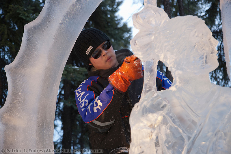 """Single block, realistic sculpture titled """"Invitation"""" by An, Di An, Qi Feng from China, during the 2009 World Ice Art Championships in Fairbanks, Alaska."""
