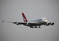 A Qantas Airbus A380-842 Registration VH-OQG named Charles Ulm landing on runway 09L at London Heathrow Airport on 3.8.19 arriving from Singapore Changi Airport, Singapore.