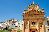 The 19th century Neo Classic facade of the Carmine Church ( Chisea sel Carmine )   .Ostuni, The White Town, Puglia, Italy.
