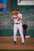 Lansing Lugnuts pitcher Will McAffer (16) during a Midwest League game against the Burlington Bees on July 18, 2019 at Cooley Law School Stadium in Lansing, Michigan.  Lansing defeated Burlington 5-4.  (Mike Janes/Four Seam Images)