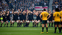 New Zealand players perform a pre-match haka as the Australia team look on. Rugby World Cup Final between New Zealand and Australia on October 31, 2015 at Twickenham Stadium in London, England. Photo by: Patrick Khachfe / Onside Images