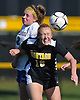 Megan Lucey #19 of Wantagh, right, and Caitlin McDonough #2 of Kellenberg go up for a header during a non-league varsity girls soccer game at Wantagh High School on Saturday, Sept. 29, 2018. Kellenberg won by a score of 3-0.