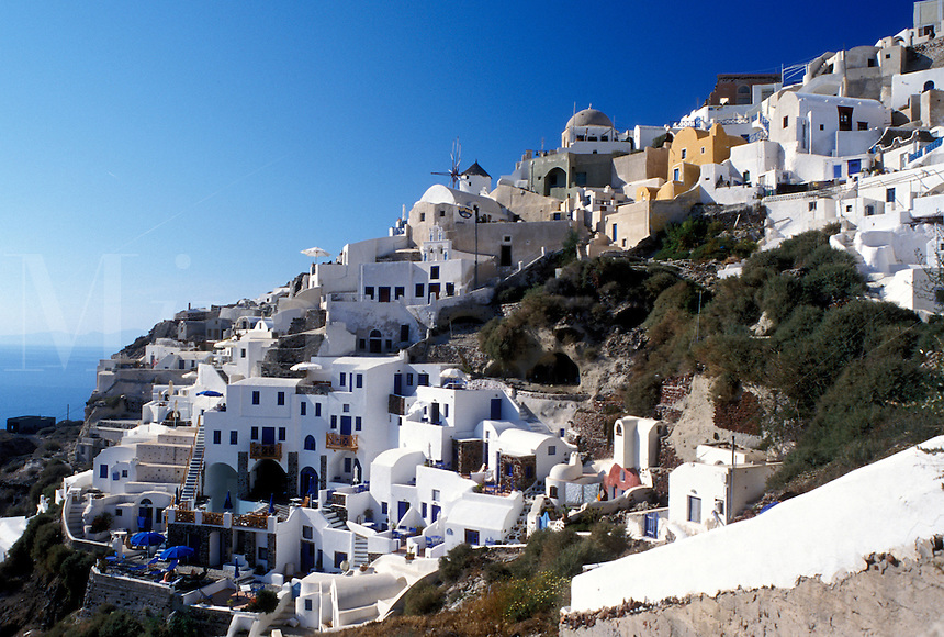 Santorini, Greek Islands, Oia, Cyclades, Greece, Europe, Village of Oia on the steep hillside of Santorini Island on the Aegean Sea.