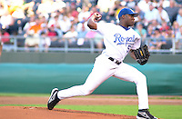 Royals right handed pitcher Miguel Asencio starts against the Toronto Blue Jays and takes the loss at Kauffman Stadium in Kansas City, Missouri on July 30, 2002.  Toronto won 13-4.
