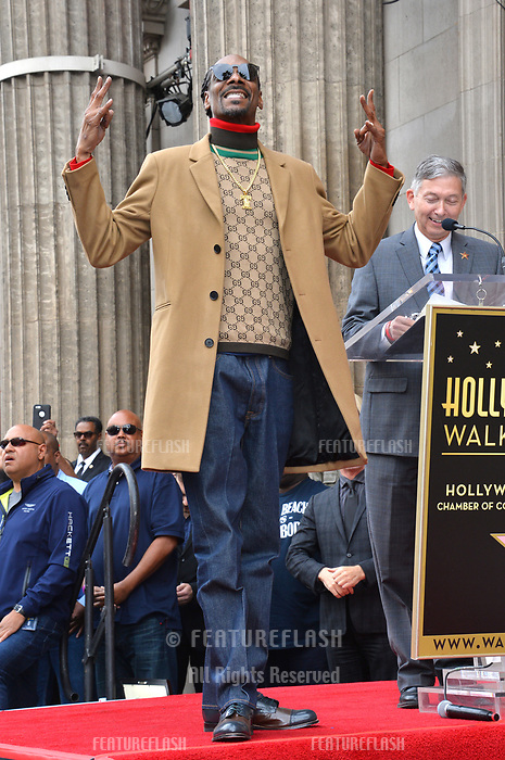 LOS ANGELES, CA. November 19, 2018: Snoop Dogg at the Hollywood Walk of Fame Star Ceremony honoring Snoop Dogg.<br /> Pictures: Paul Smith/Featureflash