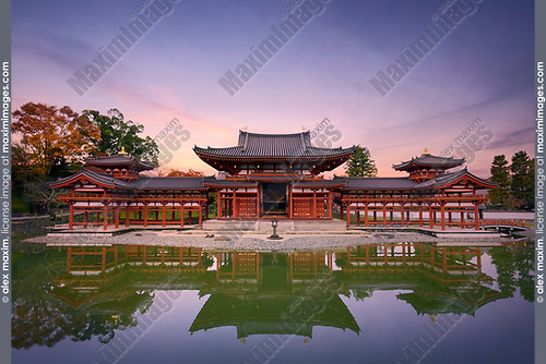 Beautiful tranquil scenery of the Phoenix Hall of Byodoin Japanese