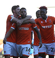 Blackpool's Curtis Tilt (#16) celebrates scoring his side's second goal with team-mate Ben Heneghan<br /> <br /> Photographer Stephen White/CameraSport<br /> <br /> The EFL Sky Bet League One - Blackpool v Rochdale - Saturday 6th October 2018 - Bloomfield Road - Blackpool<br /> <br /> World Copyright &copy; 2018 CameraSport. All rights reserved. 43 Linden Ave. Countesthorpe. Leicester. England. LE8 5PG - Tel: +44 (0) 116 277 4147 - admin@camerasport.com - www.camerasport.com