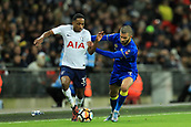 7th January 2018, Wembley Stadium, London, England;  FA Cup football, 3rd round, Tottenham Hotspur versus AFC Wimbledon; Kyle Walker-Peters of Tottenham Hotspur battles with George Francomb of AFC Wimbledon