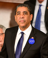 """United States Representative Adriano Espaillat (Democrat of New York) wears a """"Madame Speaker"""" button as the 116th Congress convenes for its opening session in the US House Chamber of the US Capitol in Washington, DC on Thursday, January 3, 2019. Photo Credit: Ron Sachs/CNP/AdMedia"""