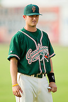 Dallas Poulk #30 of the Greensboro Grasshoppers at Fieldcrest Cannon Stadium August 2, 2010, in Kannapolis, North Carolina.  Photo by Brian Westerholt / Four Seam Images