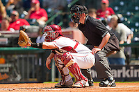Arkansas Razorbacks catcher Jake Wise #19 sets a target as home plate umpire Ken Langford looks on during the game against the Texas Tech Red Raiders at Minute Maid Park on March 2, 2012 in Houston, Texas.  The Razorbacks defeated the Red Raiders 3-1. (Brian Westerholt/Four Seam Images)