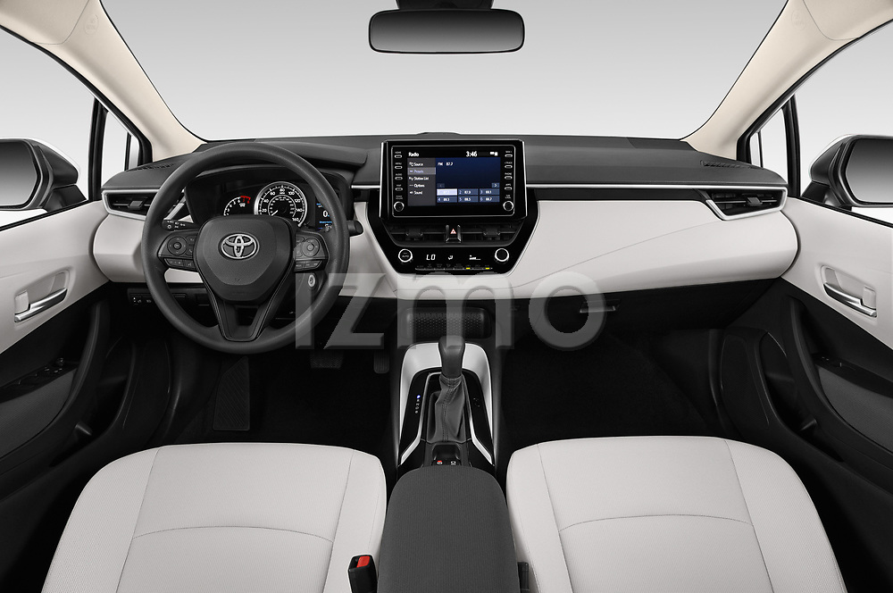 Stock photo of straight dashboard view of 2020 Toyota Corolla LE 4 Door Sedan Dashboard