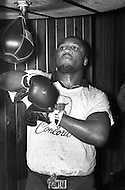 January 1974. American boxer Joe Frazier training at the Concord Hotel in upstate New York.